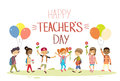 Teacher Day School Children Group Hold Flowers Balloons Holiday Greeting Card Stock Images - 70138844