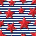 Vector Seamless Pattern With 3d Stylized Red Stars And Blue Navy Stripes. Stock Photo - 70144200