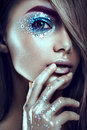 Art Make Up.Woman Portrait With Creative Body-art. Royalty Free Stock Images - 70172759