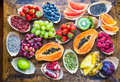 Fruits, Berries, Nuts, Seeds Top View. Royalty Free Stock Image - 70173396