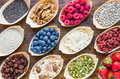 Fruits, Berries, Nuts, Seeds Top View. Royalty Free Stock Photos - 70174018