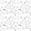 Outline Seamless Cleaning Products And Equipment Background Pattern. Royalty Free Stock Photo - 70177375