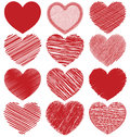 Set Of Hand Drawn Scribble Hearts, Icon Vector Design Royalty Free Stock Photography - 70184407