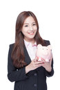 Business Woman With Piggy Bank Royalty Free Stock Photo - 70195285