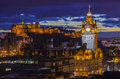 Edinburgh Castle And The Balmoral Hotel In Scotland Stock Images - 70195384