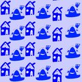 Seamless Pattern With Cartoon Blue Houses. Childish Drawing. Royalty Free Stock Images - 70204269