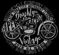 Motorcycle Label T-shirt Design With Illustration Of Custom Chop Stock Images - 70213214