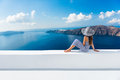 Europe Greece Santorini Travel Vacation - Woman Stock Photos - 70216133