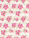 Seamless Pattern With Pink Flowers On The Zig Zag Background. Royalty Free Stock Images - 70227649