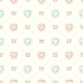 Seamless Background With Crown And Hearts Royalty Free Stock Images - 70233569