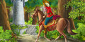 Cartoon Scene On A Horseman Encountering Hidden Tower - In The Forest Royalty Free Stock Image - 70236846