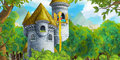 Cartoon Fairy Tale Scene With Castle Tower - Princess In The Window Stock Photos - 70236953