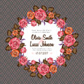 Vintage Wedding Invitation Card Frame With Roses Royalty Free Stock Images - 70240759