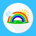 Icons Rainbow With Clouds, Stock Photo - 70248990