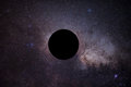 The Mock Of Black Hole In Front Of Milky Way Stock Image - 70252681