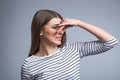 Pleasant Girl Closing Her Nose Royalty Free Stock Photos - 70259198