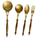 Old Brass Serving Set With Strainer Royalty Free Stock Photos - 70267798