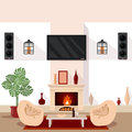Living Room Interior. Modern Interior With TV And Fireplace Royalty Free Stock Image - 70283516