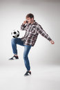 Portrait  Of Young Man With Smart Phone And Football Ball Stock Photos - 70284223