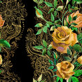 Yellow Roses On Golden Ornament. Seamless Pattern Royalty Free Stock Image - 70285096