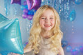 Portrait Of Pretty Blonde Little Girl With Color Balloons Royalty Free Stock Image - 70292726