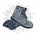 Hand Drawn Vintage Label With Textured Boots Vector Illustration. Stock Image - 70298161