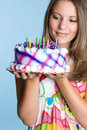 Woman Holding Birthday Cake Royalty Free Stock Image - 7035486
