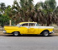 Restored Yellow Taxi At Playa Del Este Cuba Royalty Free Stock Images - 70324039