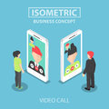 Isometric Businessman Make Video Call With His Colleague  Royalty Free Stock Photo - 70330335