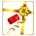 Gold Bow And Ribbon With Tag Vector Royalty Free Stock Images - 70334869