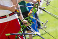Recurve Bow Archery Competition Hand Only Royalty Free Stock Photography - 70349977