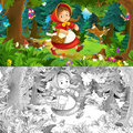 Cartoon Scene On A Happy Girl Inside Colorful Forest - With Coloring Page Royalty Free Stock Images - 70350919