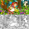 Cartoon Scene On A Happy Girl Inside Colorful Forest - With Coloring Page Royalty Free Stock Images - 70350939