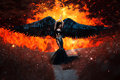 Black Angel. Pretty Girl-demon Stock Image - 70355911