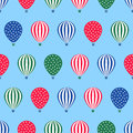 Hot Air Balloon Seamless Pattern. Baby Shower Vector Illustration On Blue Sky Background. Royalty Free Stock Image - 70356116