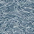 Pattern Seamless Ocean Waves Hand Draw Asian Style Royalty Free Stock Photography - 70369537