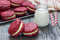 Red Velvet Sandwich Cookies Stock Photo - 70369560