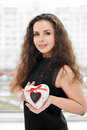 Pretty Woman In Love Holding Heart-shaped Box Stock Image - 70372341