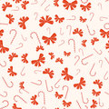 Merry Christmas And Happy New Year Seamless Retro Pattern. With Candy Canes, Bows Ribbons. Vector Collection Stock Photo - 70381660