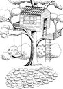Tree House Graphic Art Black White Landscape Illustration Royalty Free Stock Photography - 70384227