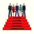 Business People Team Going Up To Success, 5 Step For Success. Stock Image - 70398151