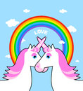 Two Pink Unicorn And Rainbow Love. Symbol Of LGBT Community. Fan Stock Images - 70405934