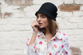 Portrait Of The Beautiful Fashionable Girl In Trendy Hat Stock Photography - 70413272