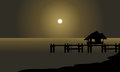 Silhouette Of Hut And Pier Stock Photos - 70419343