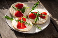 Multigrain Rice Cakes With Strawberries Fruit , Soft Mascarpone Cheese And Arugula. Royalty Free Stock Image - 70435106