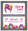 Set Of Two Templates Of Gift Cards With Color Ornament For Print Or Website. Vector Illustration. Gift Card Design Royalty Free Stock Image - 70435476