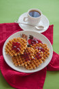 Waffles With Cranberry Jam Royalty Free Stock Image - 70441516