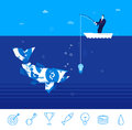 Vector Business Concept  Illustration. Businessman Fishing Royalty Free Stock Photography - 70442677
