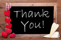One Chalkbord, Red And Yellow Hearts, Thank You Royalty Free Stock Photography - 70464297
