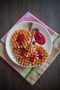 Waffles With Cranberry Jam Royalty Free Stock Image - 70467186
